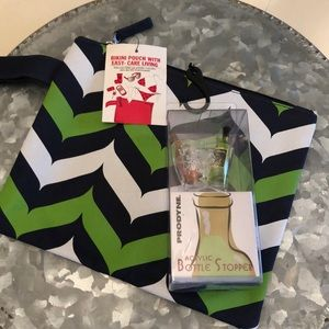NWT bikini pouch and champagne bottle stopper